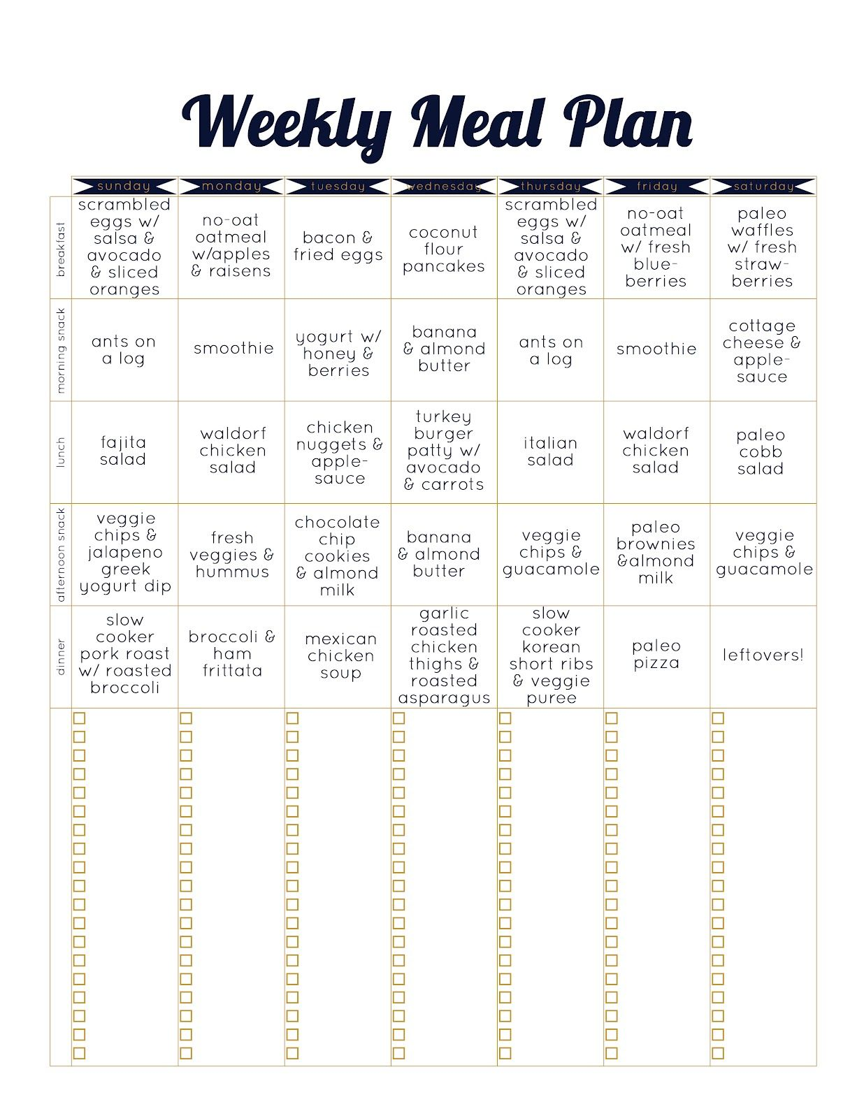 always underfoot: paleo template meal plan - week 2 | Healthy food ...