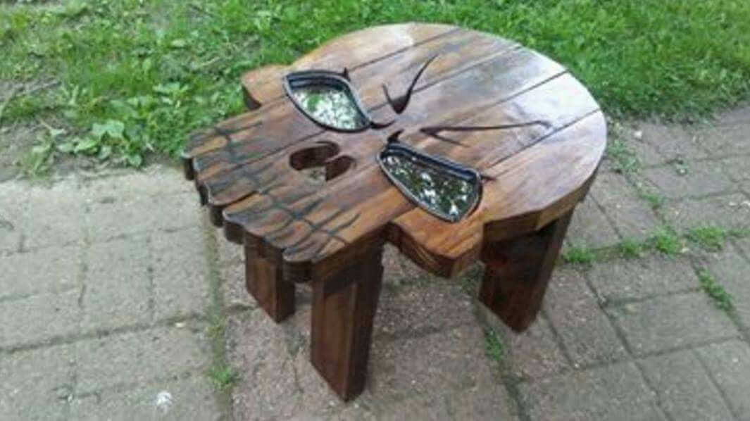 Wood Skull Lawn Chairs ~ Wooden skull table man cave in pinterest wood