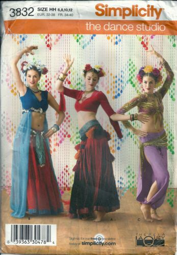 Simplicity Sewing Pattern 3832 Belly Dancer Exotic Tribal Dance ...