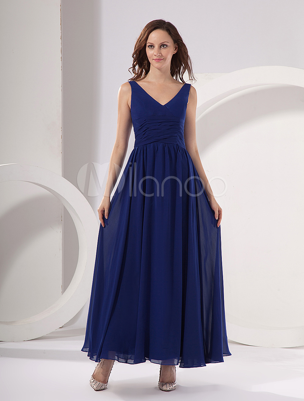 Milanoo ltd evening dresses royal blue deep vneck chiffon