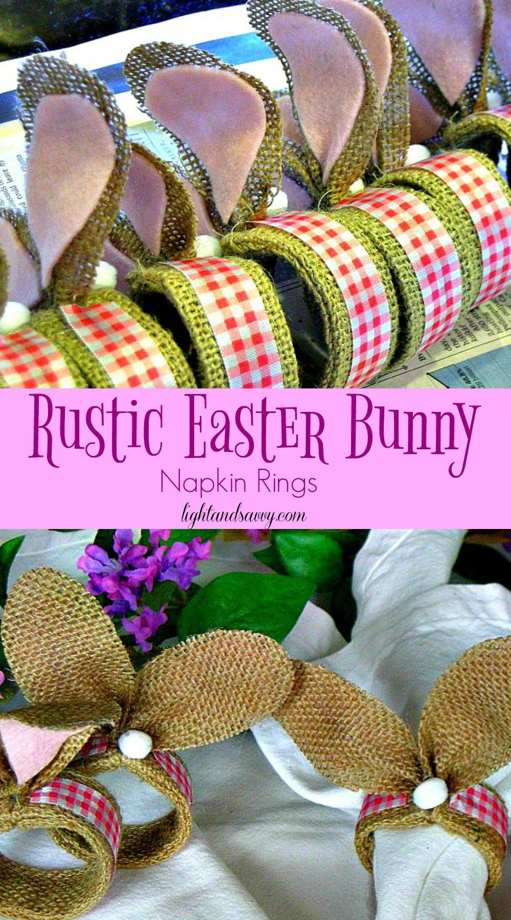 Rustic Easter Bunny Napkin Rings - Get Hopping! Make this simple craft for your own Easter table or buffet!