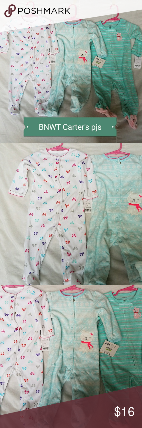 0f27475c6 BNWT Carter s winter fleece pj lot 6-9mo 3!! Brand New with tags ...
