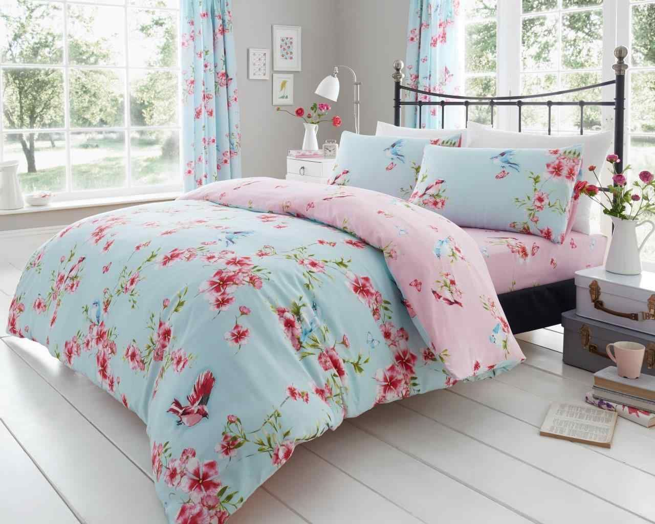 New Roseanne Floral Printed PolyCotton Duvet Quilt Cover Bedding Sets All Sizes