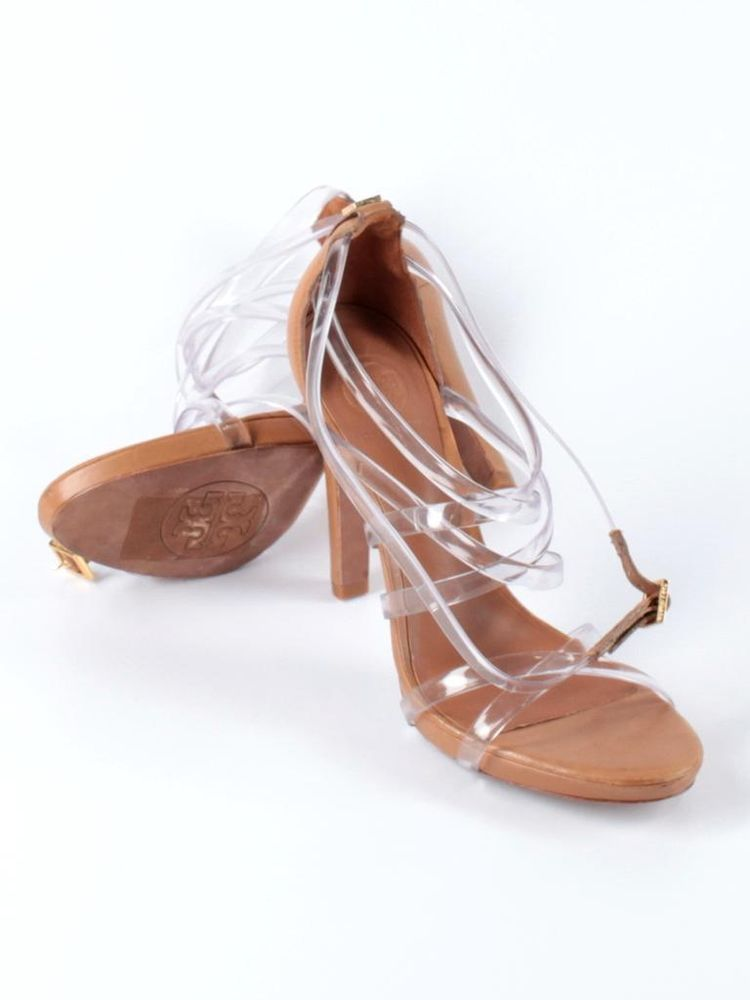 4a42d39c0fe Women Tory Burch Lucite Royal Tan Leather Clear Strappy High Heel Shoe Size  9.5