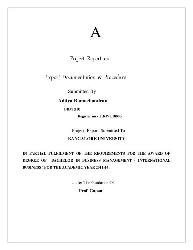 A Project Report on Export Documentation  Procedure Submitted By A