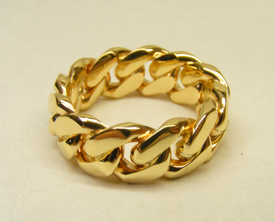 Cuban Link Ring 10k 10mm Linking Rings Yellow Gold Rings Rings