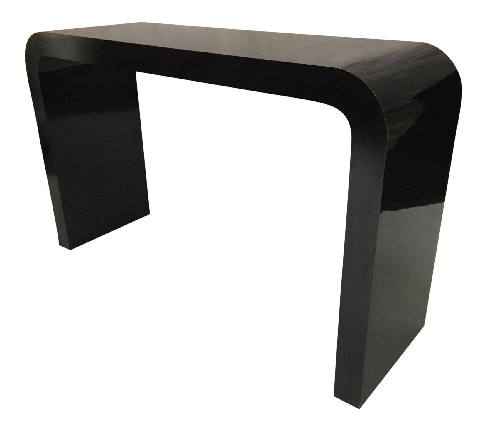 Glossy Black Modern Console Table In The Manner Of Karl Springer