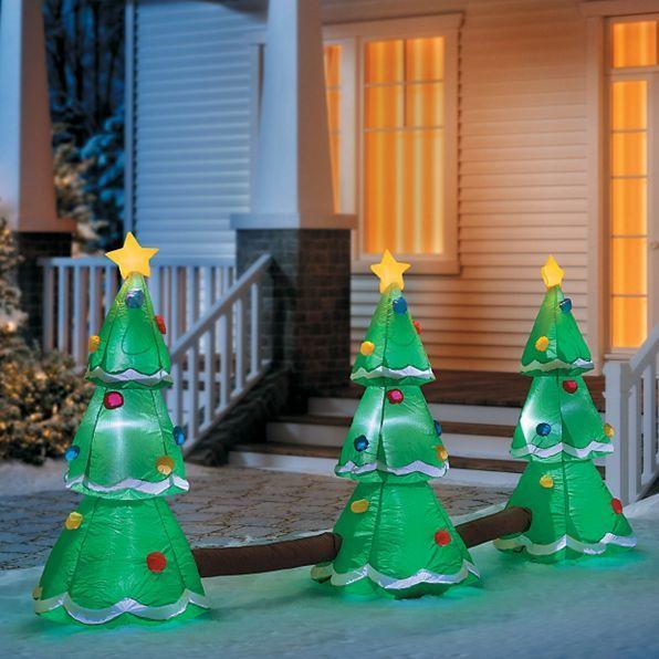Christmas Tree Trio: Inflatable Christmas Tree Trio Creates A Festive Light
