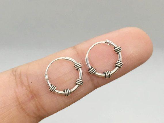 14mm Hoop Tribal Hoop Earrings Silver Boho Hoops Everyday Hoop Earrings