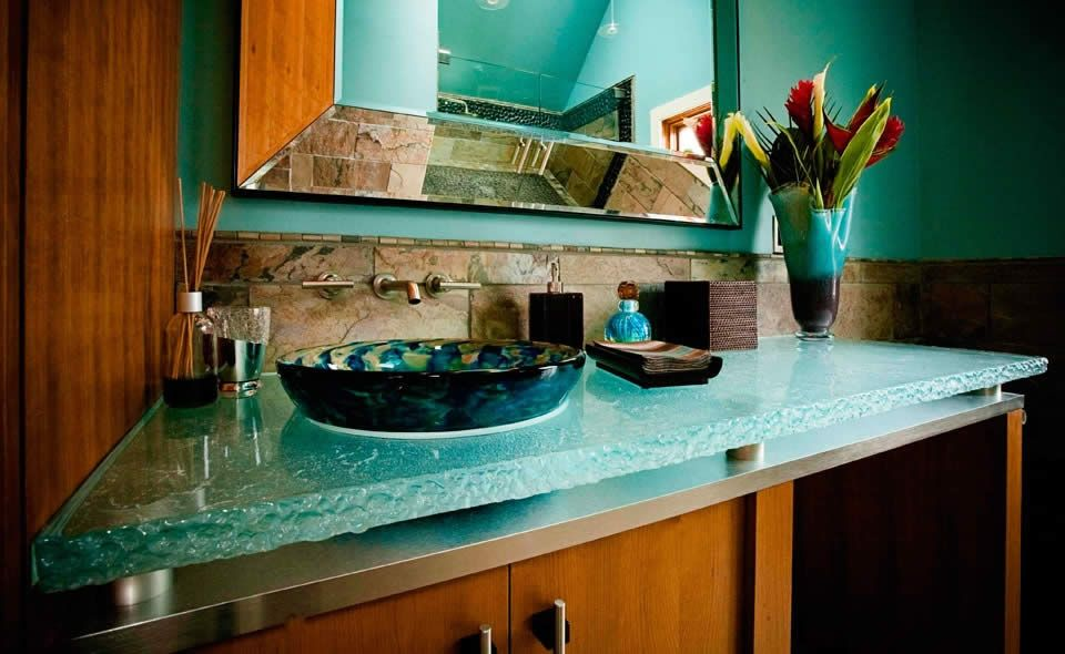 Inner Glow ThinkGlass Versatile Countertop Design : Cool Powder Room  Cabinet Design With Amazing Craco Crystal Textured LEDs Glass Countertop  And Vessel ...