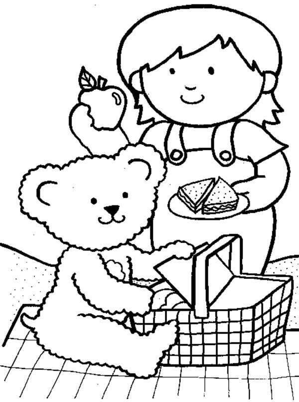 Little Girl Going Picnic with Her Teddy Bear Coloring Page
