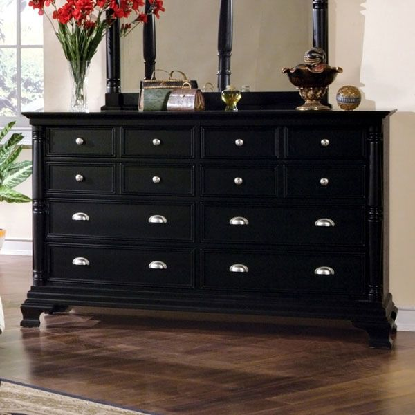 St Regis Black Dresser With Bracket Feet Dresser With Mirror