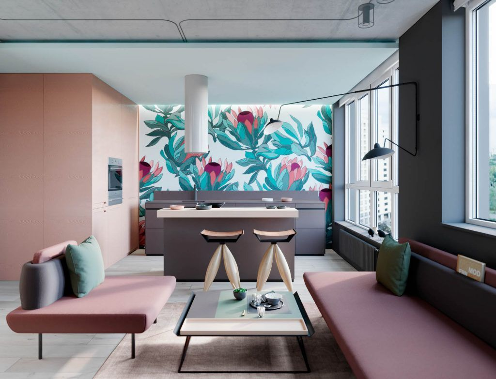 interior design using pink and green 3 examples to help