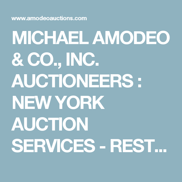 Michael Amodeo Co Inc Auctioneers New York Auction Services Restaurant Equipment Restaurant Equipment Auction Restaurant