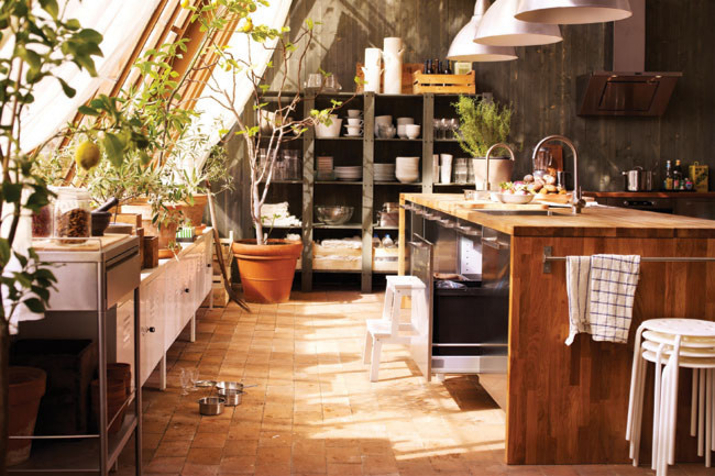 Attractive Beautiful Rustic Kitchen In A Lovely A Frame Cottage Home. Lovely Solid  Timber Bench And