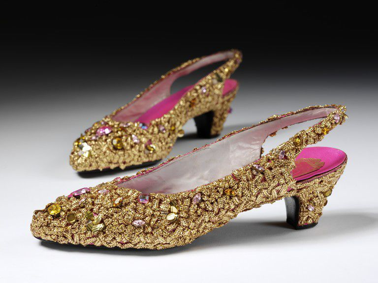 1952-1954, France - Pair of evening shoes by Christian Dior - Silk satin covered with applied gold braid, sequins, and paste