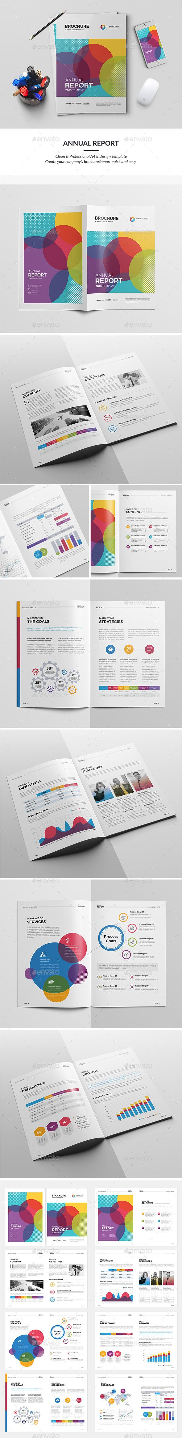 Colorful Annual Report Brochure Template InDesign INDD | Brochure ...