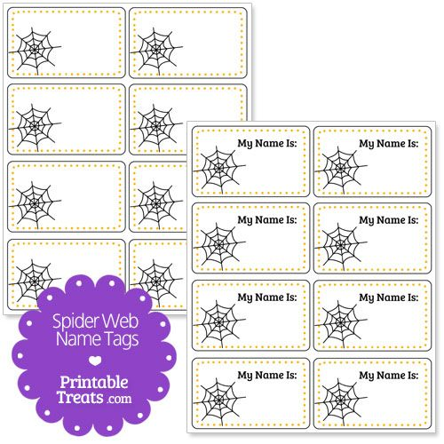 spider web name tags - Halloween Name Ideas