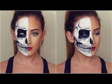 half skull halloween makeup tutorial  youtube seriously