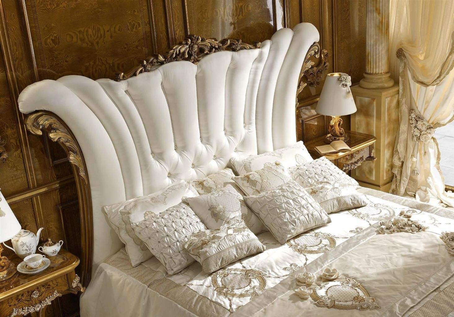 White Upholstered Bed with Surround
