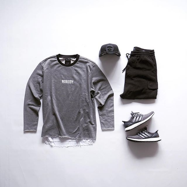 WEBSTA @ kickstography - Tonal▫️ #bershka sweater▫️ #hm ripped edge tank▫️ #bershka loose trousers▫️ #aape cap▫️ #adidasultraboost mystery grey______________________________________________________________@outfitgrid • @deezywear • @wdywt @streetfitgrid • @bestoutfitgrids • @worldsbeststreetstyle • @outfitsaints • @flygrids