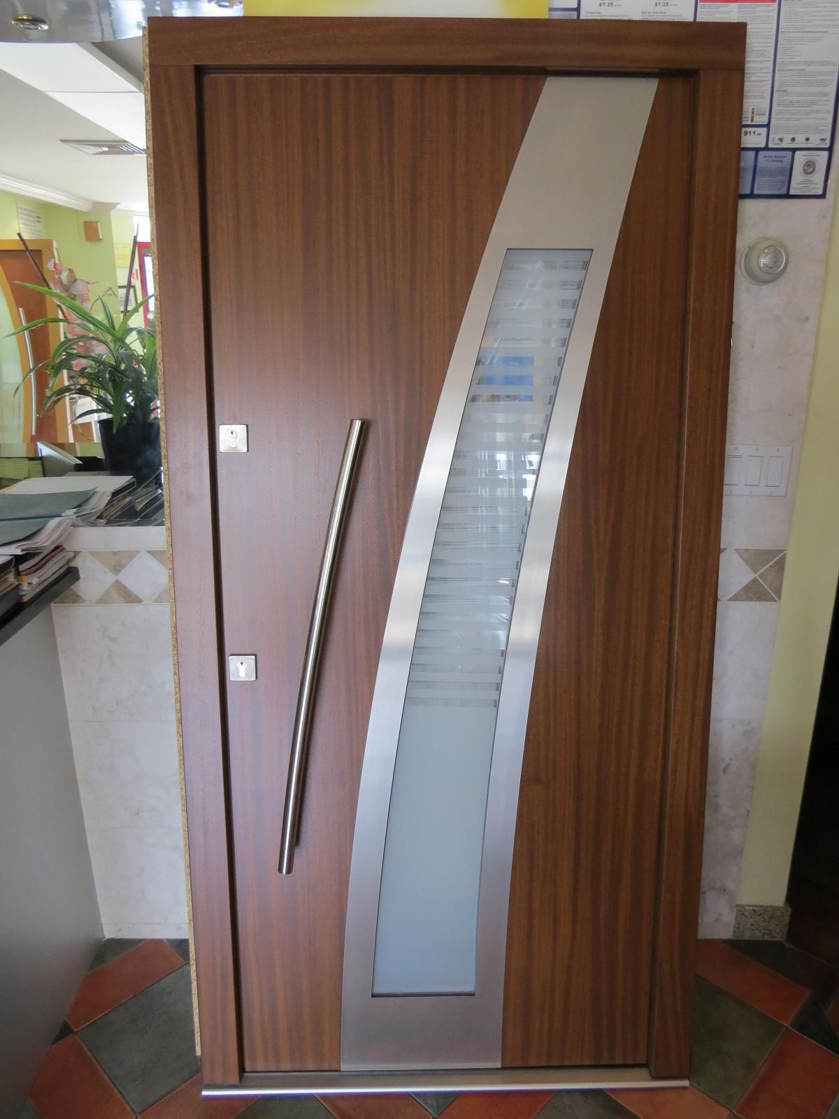 model 004 custom meranti wood exterior door contemporary front