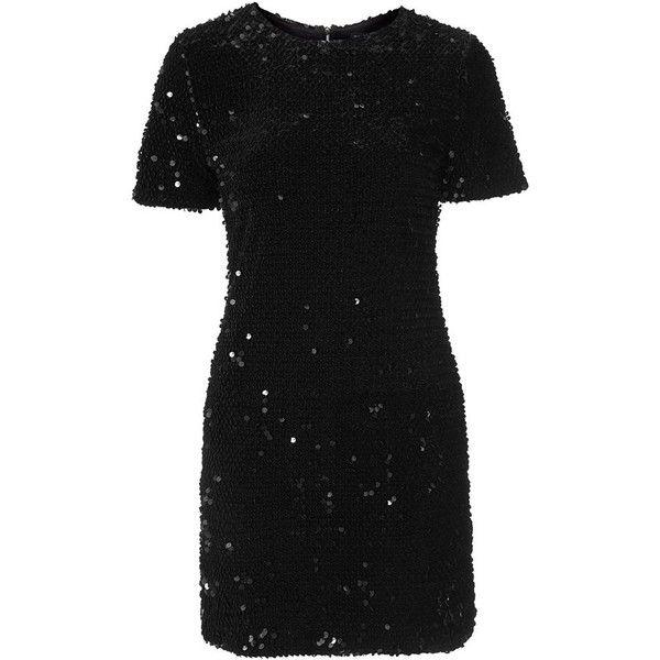 Women's Topshop Flocked Sequin Dress (€105) ❤ liked on Polyvore featuring dresses, vestidos, topshop, body conscious dress, sequin cocktail dresses, little black dress, lbd dress and gunmetal dress