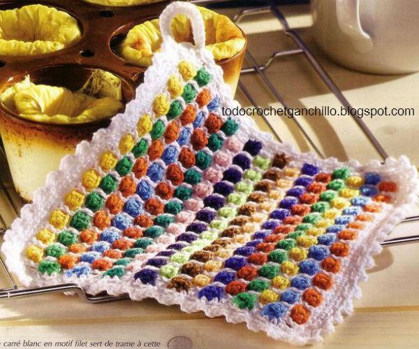 Agarradera crochet esquema ...I love this colorful potholder,and ...