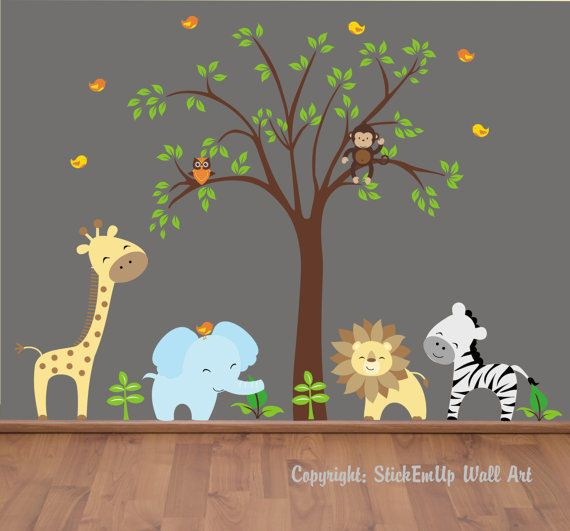 Happy Zoo Animals And Tree Wall Mural Stickers Wall Sticker - Zoo animal wall decals