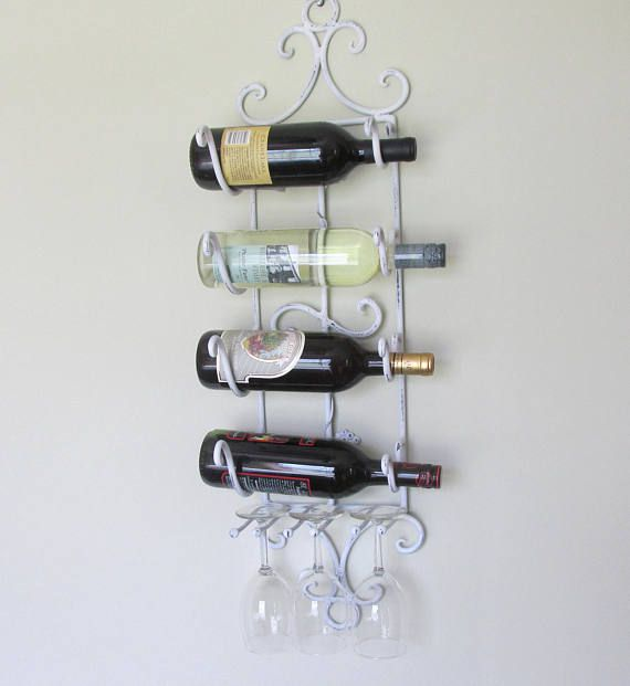 Pretty White Wrought Iron Bent Wire Wine Rack Wall Mount Wine