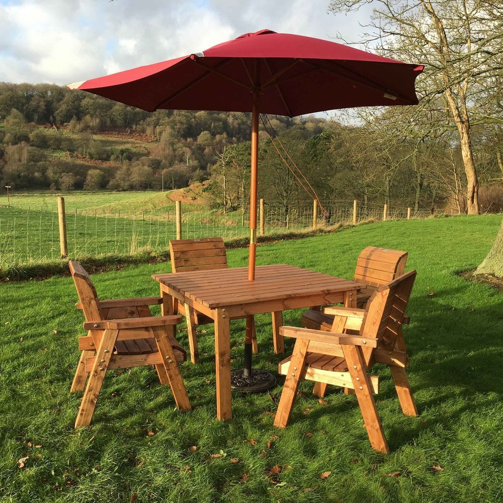 4 Seater Square Garden Dining Table Set Lawn Patio Outdoor Wooden ...
