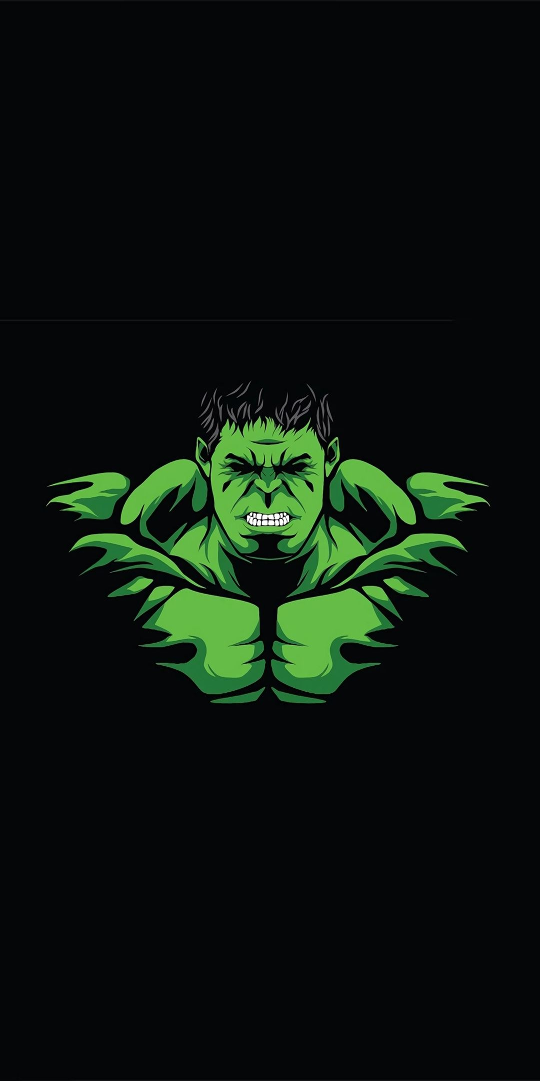 Hulk, angry green guy, minimal, 1080x2160 wallpaper
