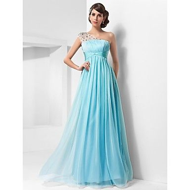 One+Shoulder+Floor-length+Chiffon+And+Tulle+Evening+Dress