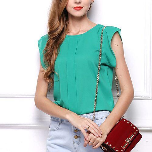 >> Click to Buy << Women Summer Fashion Round Neck Short Feifei Sleeve T-shirt Chiffon Top #Affiliate