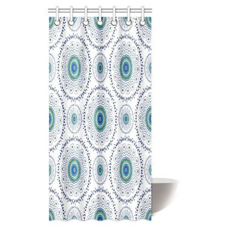 MYPOP Feather Peacock Shower Curtain Home Decor Indian Floral Mandala Form Made With Digital Folded