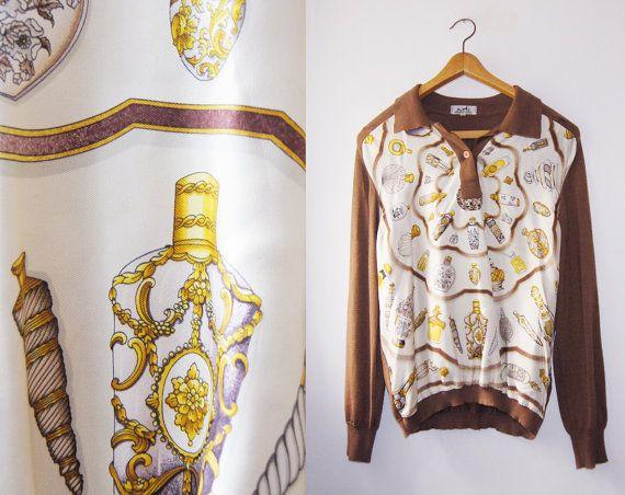 Rare HERMES paris cashmere with Silk Print sweater by DorisVintage