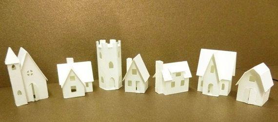 Tiny Village 2012,  kit to make 7 miniature cardstock buildings, 3 color choices white, gingerbread brown, black
