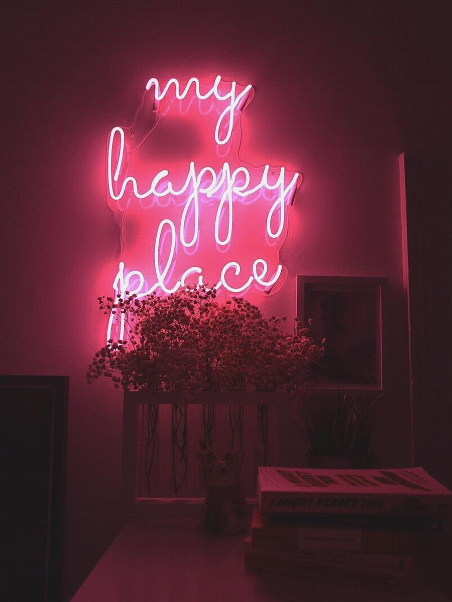 My Happy Place Real Glass Neon Sign For Bedroom Garage Bar Man