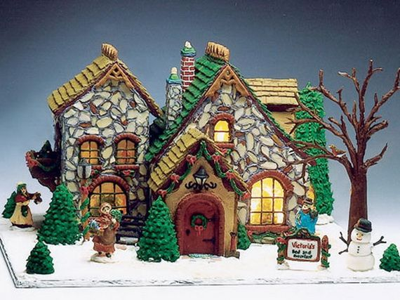 Amazing Traditional Christmas Gingerbread Houses. The use of almonds on the house is a great idea.