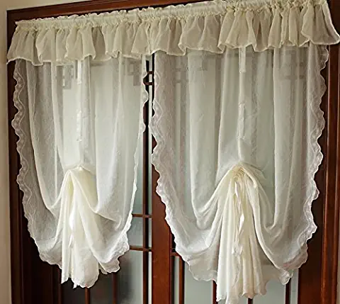 FADFAY Pastoral Style Adjustable Balloon Curtain Living Room Shade Curtains f...