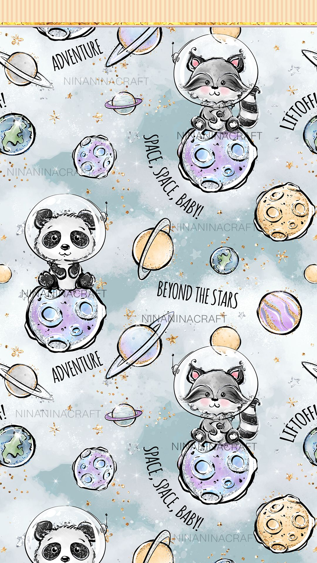 Cute Space Animals Digital Papers Astronaut Cuties Seamless Etsy Space Animals Watercolor Galaxy Digital Paper