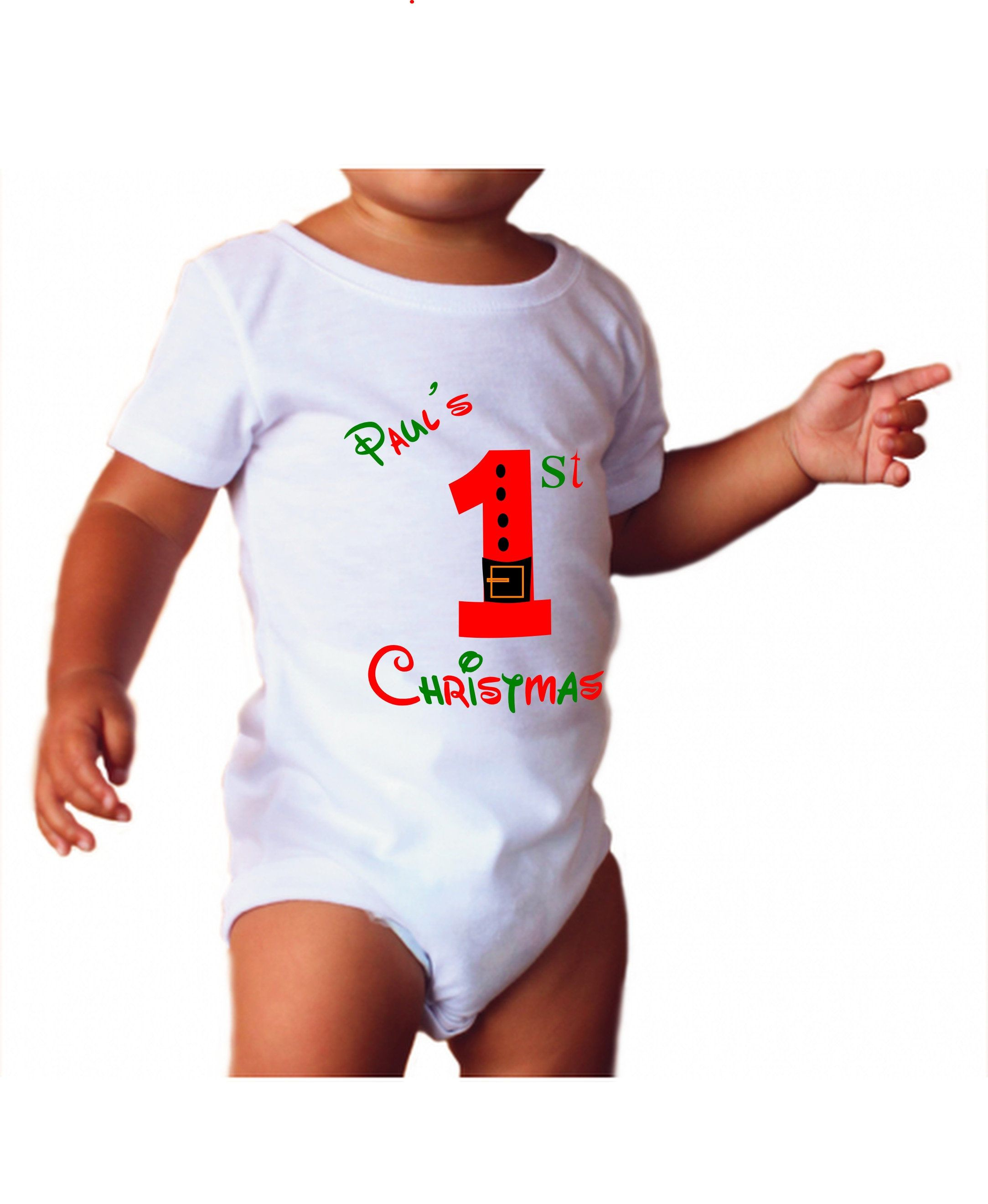 fd30aa3d Customised T Shirts · Baby's First Christmas Personalized Baby grow / Baby  Vest Unisex body suit Baby Clothes, Christmas