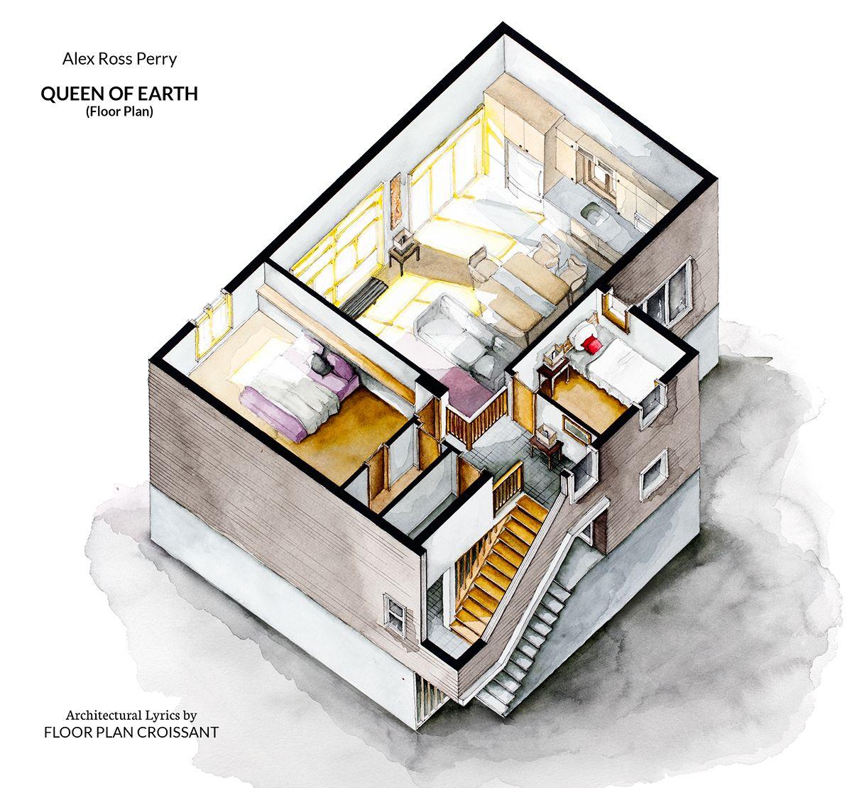 3d Floor Plan Isometric: Watercolor Isometric Floor Plan Of Lake House In Alex Ross