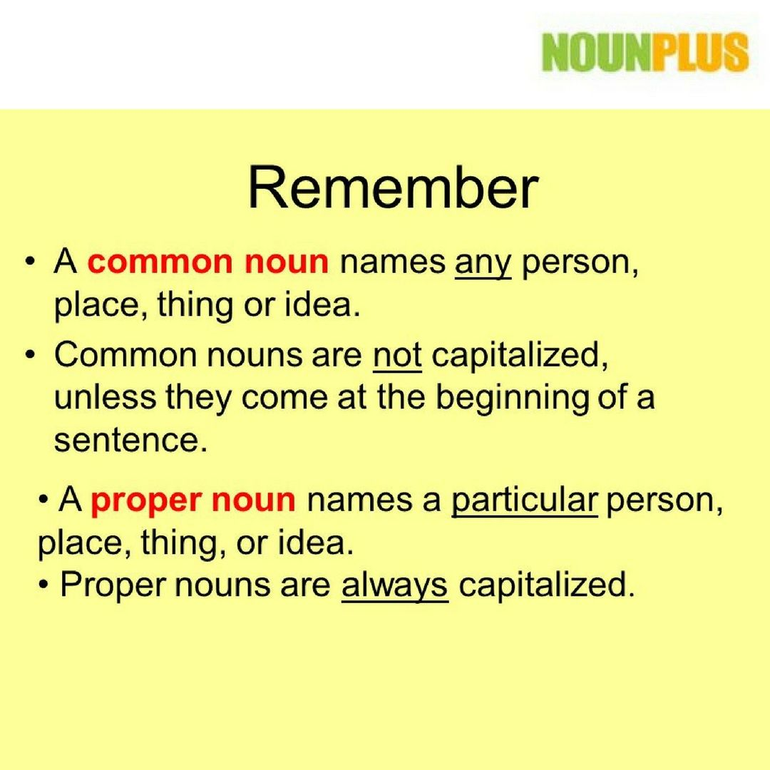 A Proper Noun Is A Specific Person Place Or Thing And Is