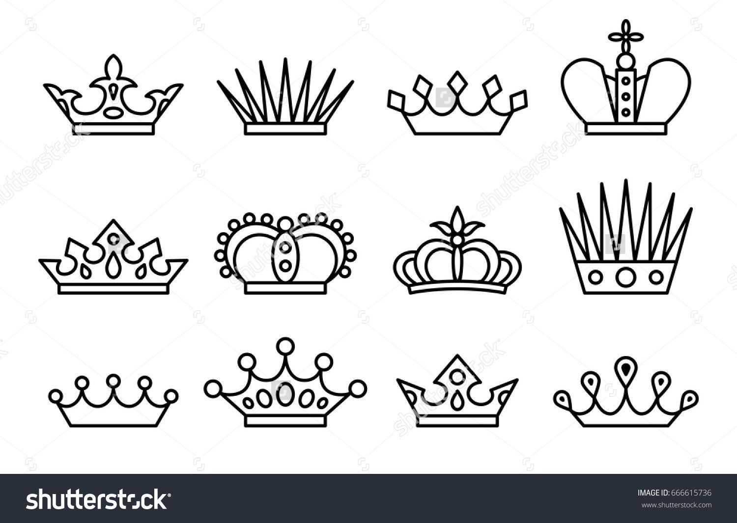 King And Queen Crowns Vector