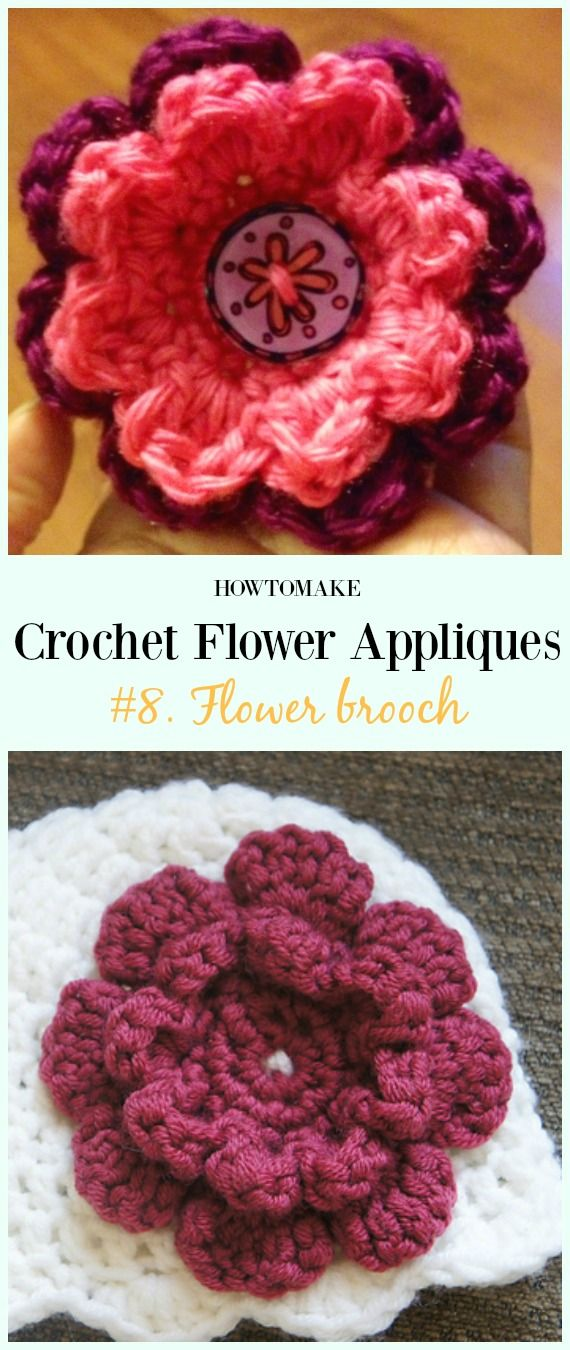 Easy Crochet Flower Appliques Free Patterns for Beginners | Easy ...