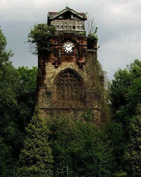 This is the mortuary chapel clock tower of Agecroft Cemetery in Pendlebury, Salford, Greater Manchester, England.