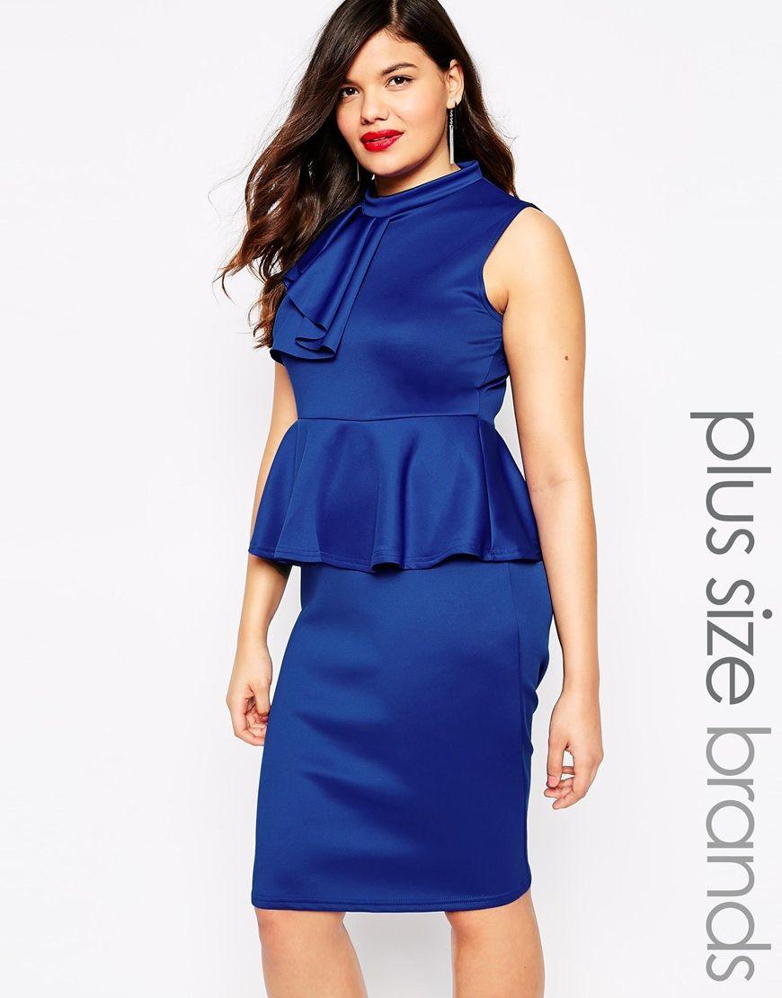 25b17fdf4d4 Image 1 of Praslin Plus size Peplum Dress With Ruffle Detail