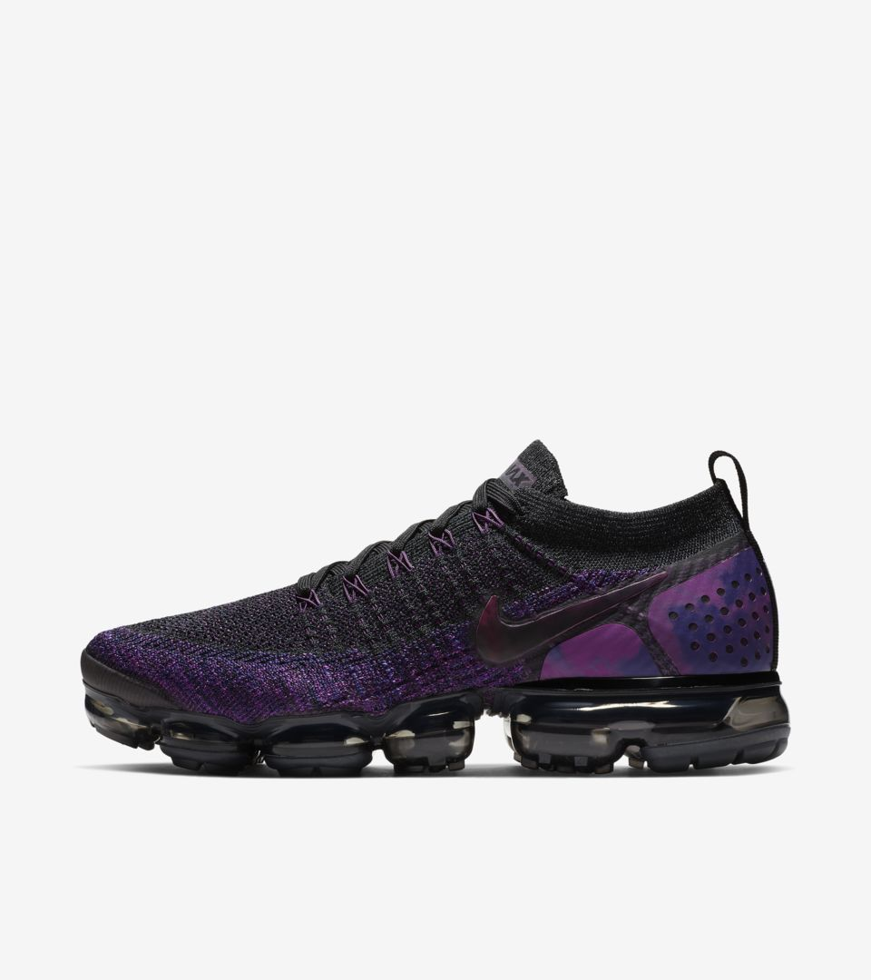 52593328cb Explore and buy the Nike Air Vapormax Flyknit 2 'Black & Vivid Purple & Night  Purple'. Stay a step ahead of the latest sneaker launches and drops.