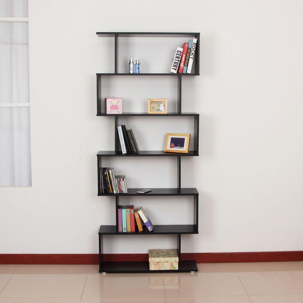 Elegant Bookcover Design: HOMCOM Storage Bookcase 6 Shelves Wood Bookshelf S Shape